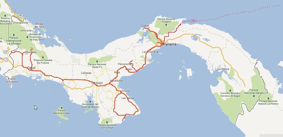 Reiseroute Panama