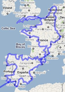Reiseroute Westeuropa